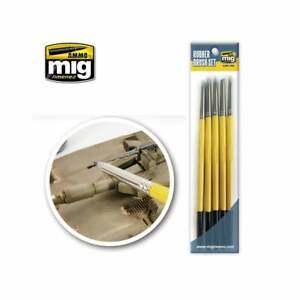 Ammo Rubber Brush Set Pack of 5-Application & Blending Of Model Paint Pigments
