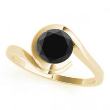 2 Carat Black Diamond Solitaire Wedding Engagement Ring 14k Yellow Gold Deal!!!!