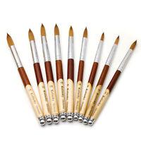 Manico in legno Kolinsky Acrilico Nail Art Brush Manicure in polvere Strumento