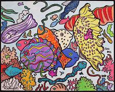 Robert SARGENT, Original Mixed Media Drawing, Undersea Life, Signed