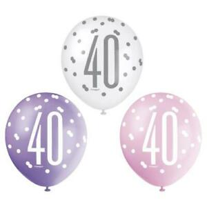 """Age 40th Birthday Balloons 6 Unique 12"""" Latex Glitz Pink Lady's Party Décor New"""
