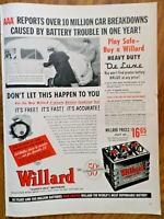 1952 Willard Battery Ad  AAA Reports Over 10 Million Car Breakdowns