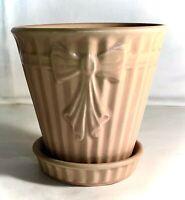 "Shawnee Burgundy Bow Knot 5 1/2"" Flower Pot And Saucer"