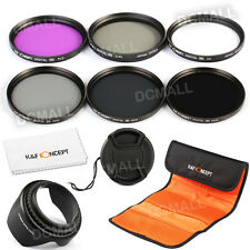 55mm Lens Filter Kit UV CPL FLD ND2 ND4 ND8 Hood Cap For Sony Alpha DSLR 18-55mm