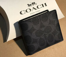 GIFT BOX*NWT COACH MENS Double Billfold Wallet Midnight Black Signature 75083