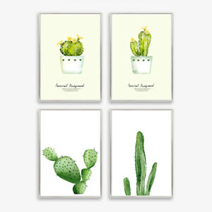 Green Plants Cactus Art Prints Poster Wall Picture Bedroom Decor Unframed