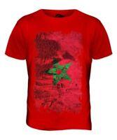 Maroc Grunge Drapeau Hommes T-Shirt Haut Amerruk Al-Ma ? R? B Elme ? Côtelé