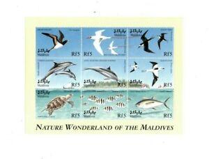 VINTAGE CLASSICS - MALDIVES 9922 - Nature Wonderland animals - Sheet of 9 - MNH