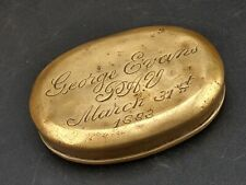 More details for victorian welsh miners brass tobacco snuff box engraved george evans pav