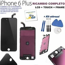 TOUCH SCREEN LCD DISPLAY RETINA FRAME PER APPLE IPHONE 6 PLUS VETRO NERO + KIT