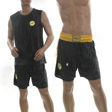 NEW XL Mens Shiny BLACK Dazzle Satin Basketball Boxing Shorts Vest Top Set