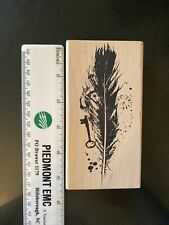 Acey Deucy Rubber Stamp-Feather with Key, Clock & Woman's Face