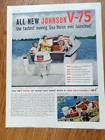 1960 Johnson Boats Motor Ad  All New Sea-Horse V-75