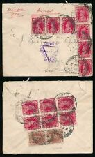 INDIA 1939 WW2 to SCOTLAND 15 stamps FRANKING AIRMAIL...CALCUTTA CENSOR