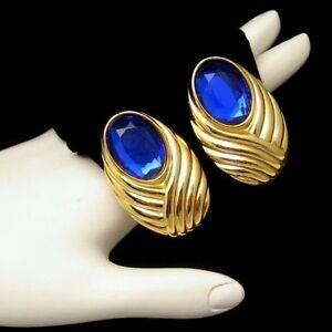 ELIZABETH ARDEN Large Vintage Clip Earrings Blue Glass Stones Rhinestones