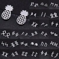 Classic Ear Stud Stainless Steel Norse Runes Stud Set Women Small Earring