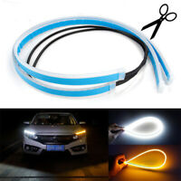 2Pcs 60CM LED Light Strip Car DRL Daytime Running Lamp Turn Signal Flexible Tube