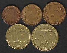Yugoslavia 1, 2, 5, 10, 50 Dinara 1992. Lot 5 Coins. KM# 149-153. VF/XF