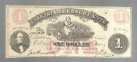 $1 Virginia Treasury Note One Dollar Bill Obsolete VA Currency