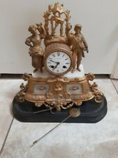 1800's Marble and Gold Gilded French Mantle Shelf Clock Des mousseaux Behier