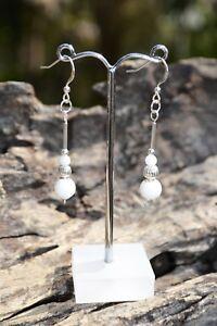 Sterling Silver and White Jade Beaded Earrrings. Handmade