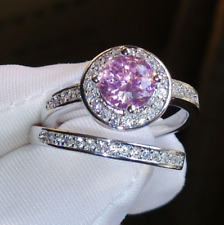 2.30Ct Round Cut Pink Sapphire Bridal Engagement Ring 14K White Gold Finish