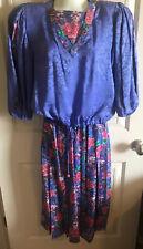 New listing Vtg Diane Fres Freis Original 2 Pc Dress Petites 100% Silk Tie Waist Floral Os