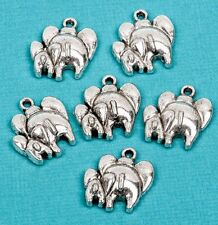 8 MOTHER and BABY ELEPHANT Silver Tone Pewter Charm Pendant chs1646