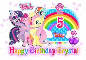 A5 EDIBLE PERSONALISED MY LITTLE PONY BIRTHDAY RAINBOW A5 LANDSCAPE CAKE TOPPER