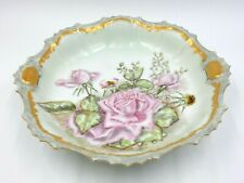 """ANTIQUE FRENCH LIMOGES HAND PAINTED 9.5"""" BOWL ~ GOLD TRIM WITH ROSES MOTIF"""