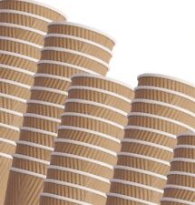 More details for disposable ripple kraft triple walled paper coffee brown | black | white cups