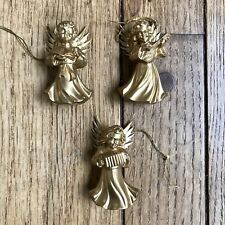 Vintage Set of 6 Music Angels Christmas Ornaments Gold Hand Painted West Germany