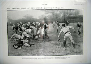 1901 A SCRUMMAGE IN A RUGBY MATCH ~ Vintage Double Page Rugby Print