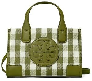 NEW NWT TORY BURCH MINI ELLA RECYCLED TOTE BAG IN Leccio/New Ivory Gingham Color