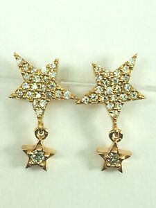 18K rose gold Starry stars genuine Diamond dangle earrings 1.8gm..NWOT..