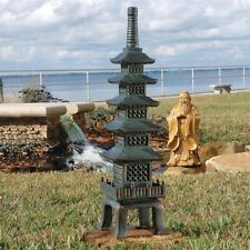 "Sacred Asian Japanese Temple Pagoda 28"" Large Verdigris Finish Garden Statue"