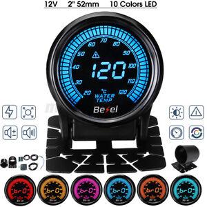 "2"" 52mm Car Digital 10 Color LED Electronic Water Temp Temperature Gauge +Sensor"