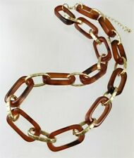 Chic Urban Faux Tortoise Shell Textured Golden Link Necklace