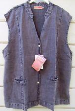 DASH Hemp Santa Cruz Ming Vest Charcoal Gray Wrinkle Resistant NEW $69 Wms 2XL