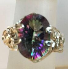 6 Carat Oval Rainbow Quartz SSF Ring Sz 7 Handmade