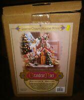 Grandeur Noel 2002 Santa Claus Lighted Ceramic Holiday House Snowman VTG Xmas