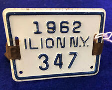 Vintage Bicycle license plate tag Ilion Ny 1962