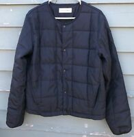 Universal Works Men's quilted jacket snap front navy blue large slim