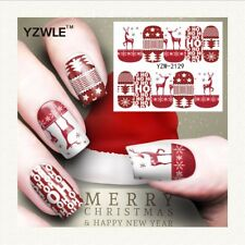 Nail Art Water Decals Stickers Christmas Red Reindeer Tree Stars Snowflakes A129