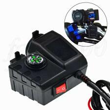 12V USB ATV Moped Scooter Cigarette Lighter Power Socket LED Voltage w/ Compass