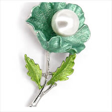 """Flower Motif Brooch Pin Painted White Faux Pearl Green Silver Ton 2.1"""" 3D New 7"""