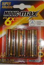 AA (LR6) 1.5v BATTERIES MODIC-MAX SUPER ALKALINE HIGH POWER PACK OF 4