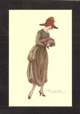 POSTCARD:  S. BOMPARD, ITALY - ART DECO FASHION GLAMOUR GIRL WEARING MAROON HAT