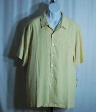 Luau 100% Silk Yellow Embroidered Hawaiian Camp Shirt Men's Sz XL NWT