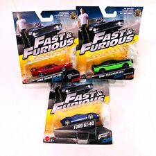 Fast and Furious Movie Die Cast Sports Cars Set of 3 Mattel Ford GT Dodge